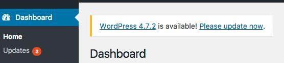 WordPress Update Notification in the dashboard