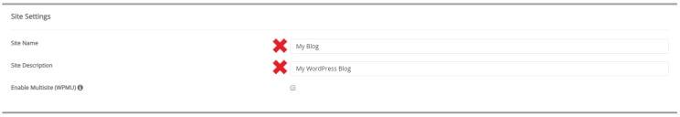 Step 4.2.2 – custom install: site settings